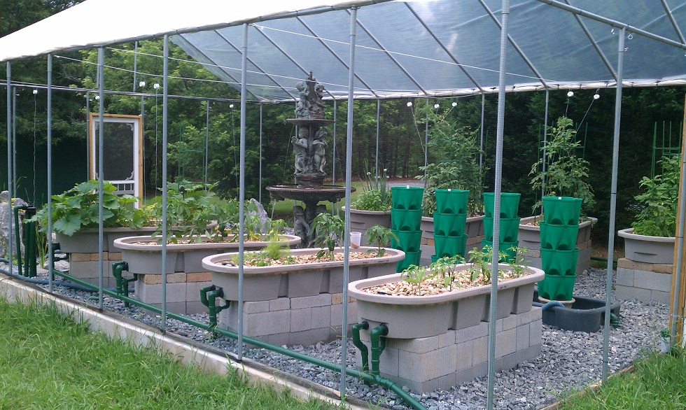 Pic of the 4 Media grow beds and the New grow towers in the DWC tank